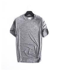 户外运动防晒男圆领速干衣冰丝银离子抗菌短袖速干t恤 灰色 M