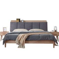 全友家居北欧双人床 卧室软靠实木脚床卧室家具组合套装床