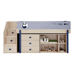 北欧现代简约儿童床多功能衣柜上下床女孩单人实木床带柜组合床